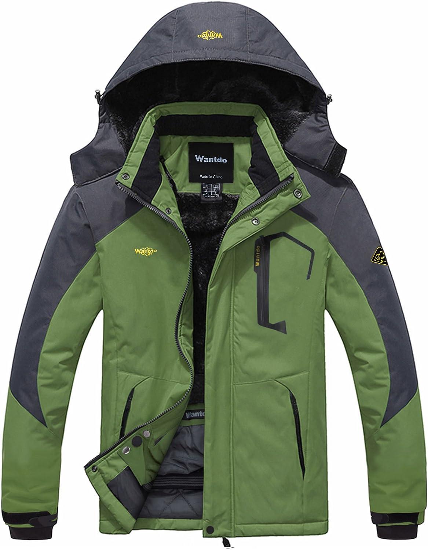 Wantdo Men's Mountain Waterproof Ski Jacket Windproof Rain Jacket Winter Warm Snow Coat