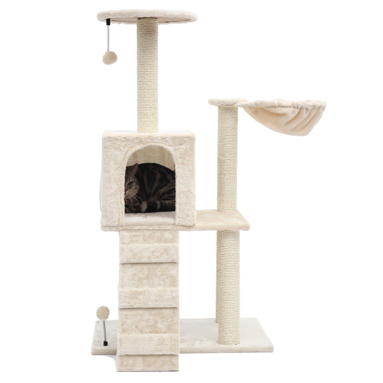 PGFUN 46'' Cat Tree Cat Scratching Post Cat Furniture Beige