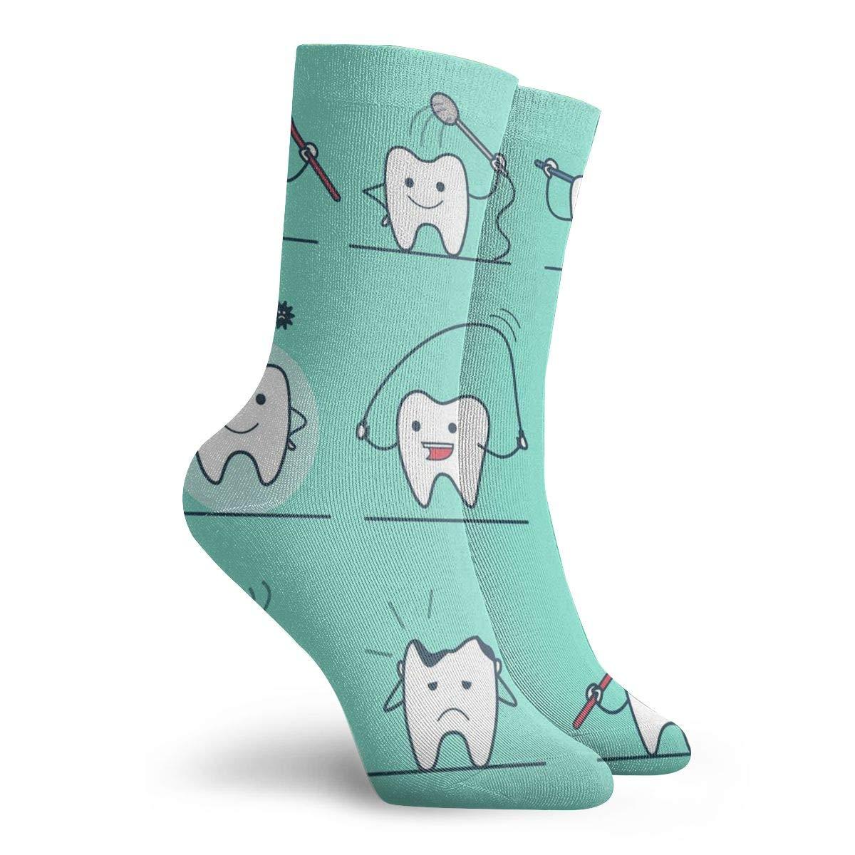 Teeth Exercise Unisex Funny Casual Crew Socks Athletic Socks For Boys Girls Kids Teenagers