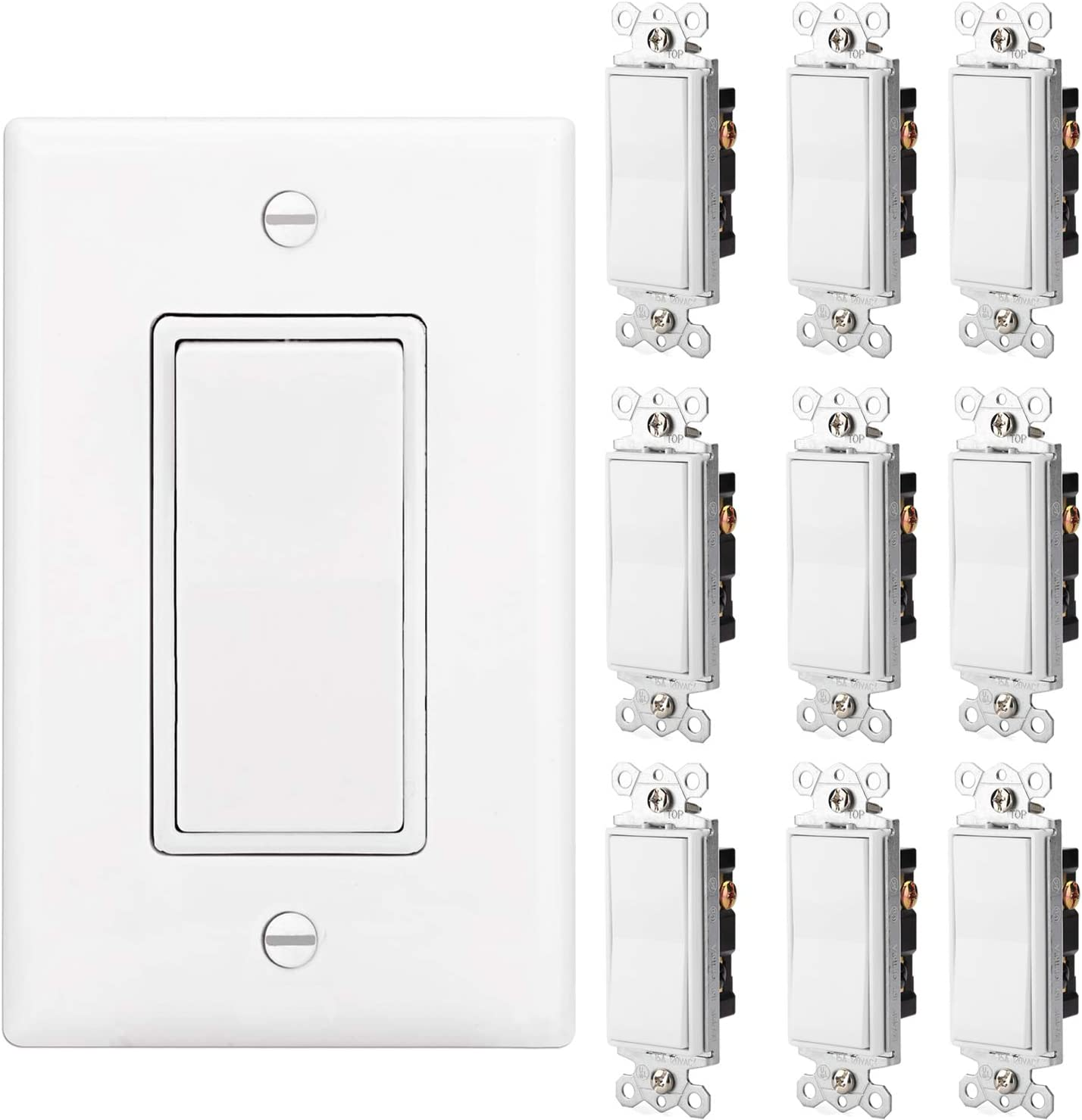 [10 Pack] BESTTEN Upgraded 3 Way ON/OFF Light Switch, Quiet AC Paddle Rocker Switch, 15Amp 120/277V, Decorator Wall Plate Included, Grounding Screw, Commercial and Residential Grade, UL Listed, White