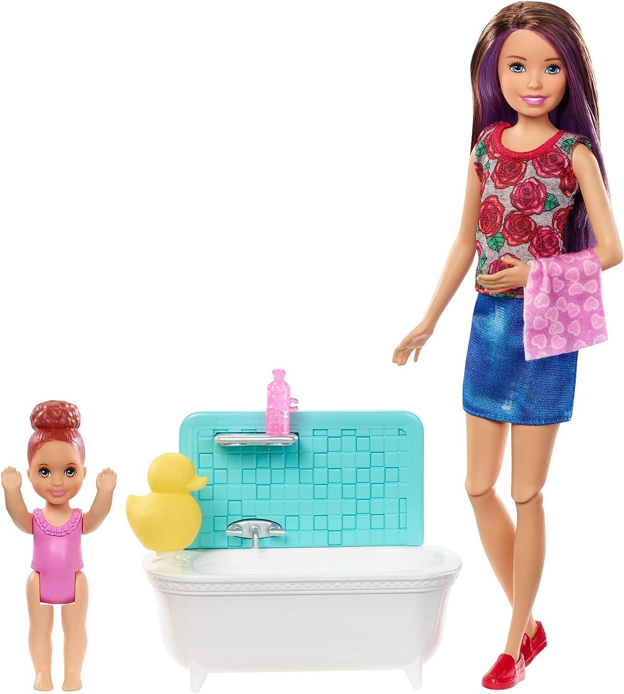 Barbie Canguro, Muñeca con bebé y accesorios de baño (Mattel FXH05)