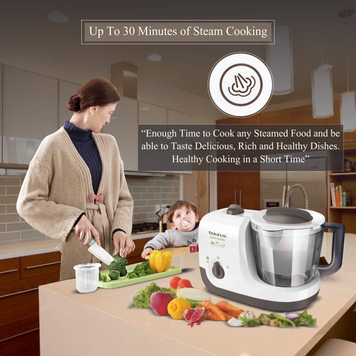 Taurus 925004000 Robot Al Vapor, 750 W, 1.7 litros, 0 Decibelios, PU|Plástico sin BPA|Acero inoxidable: Amazon.es: Hogar