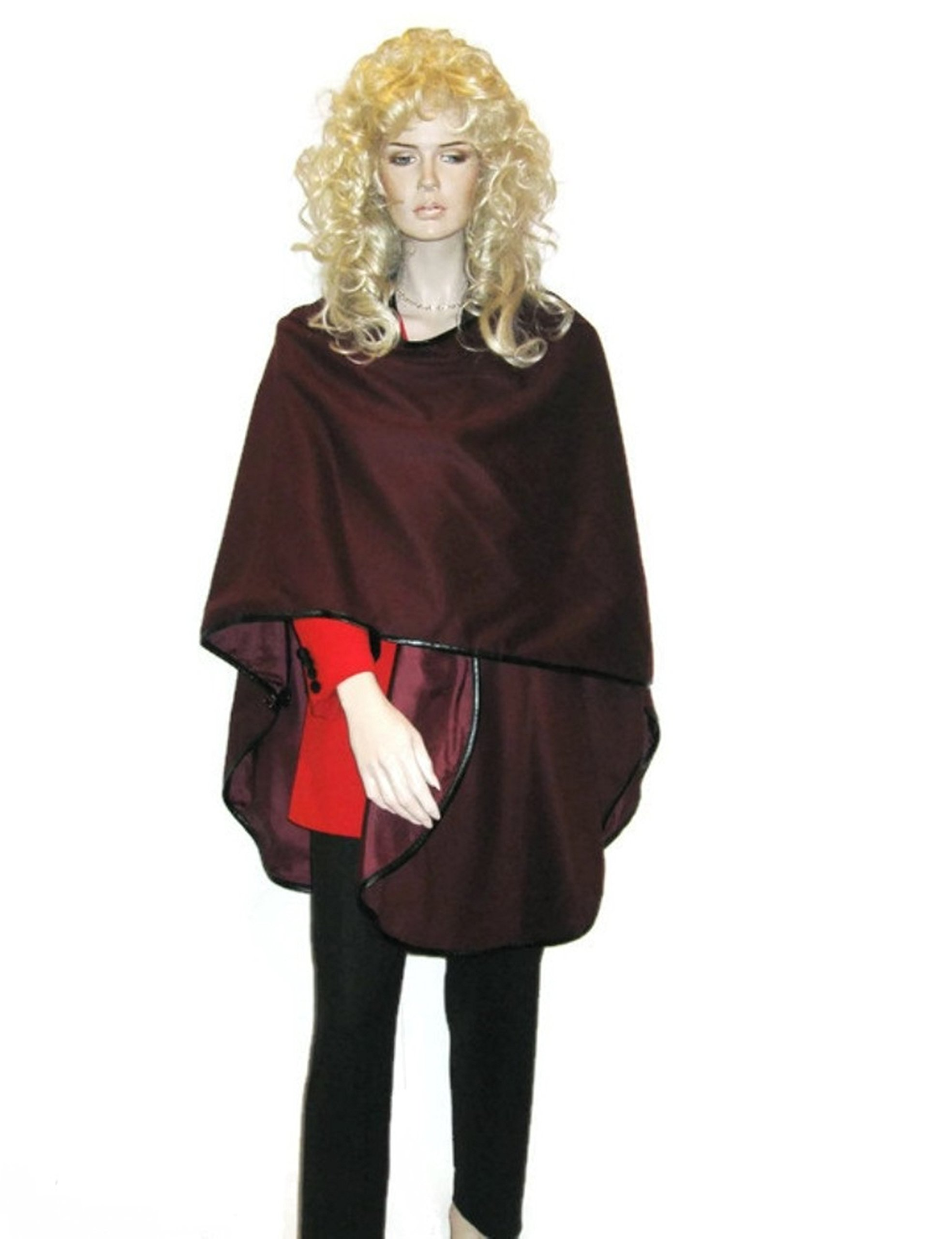 Cashmere Pashmina Group: Cashmere Cape in pure Cashmere with genuine Leather Trim & lining (Wine) by Cashmere Pashmina Group