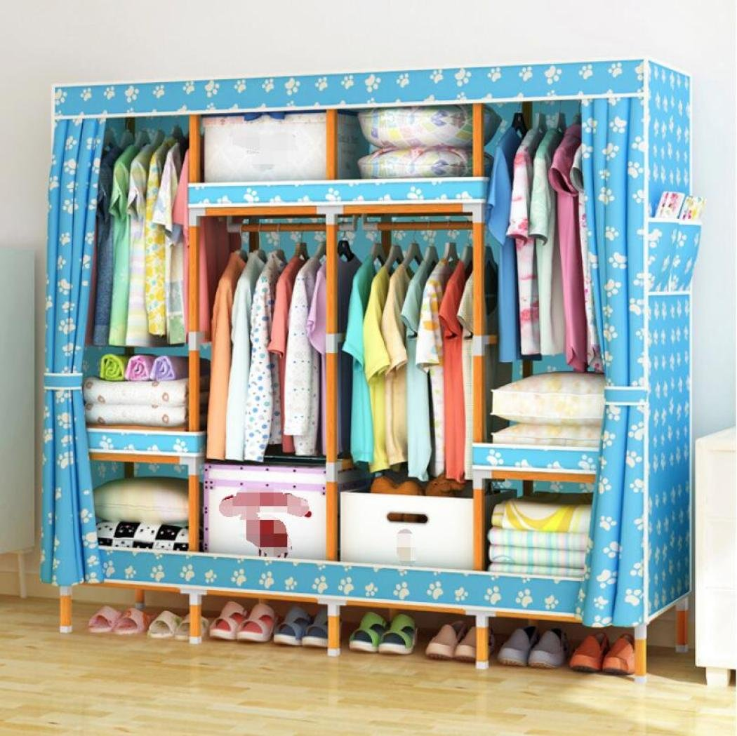 GY&H Stockage Portable Armoire En Bois Massif Oxford Tissu Placard Organisateur De Stockage avec Couverture Étanche