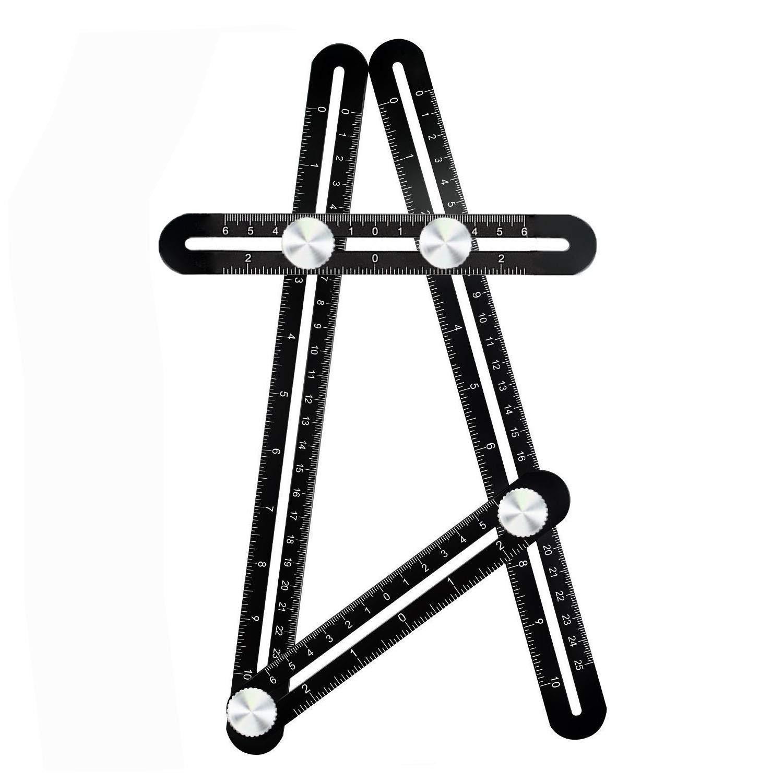 Cosve Angleizer Règle à Plusieurs Angles en Alliage d'Aluminium Premium - Outil de mesure Précis + Niveau à Bulle pour Maçon, Charpentier, Artisan, Architecte, Bricoleur, produits de bricolage
