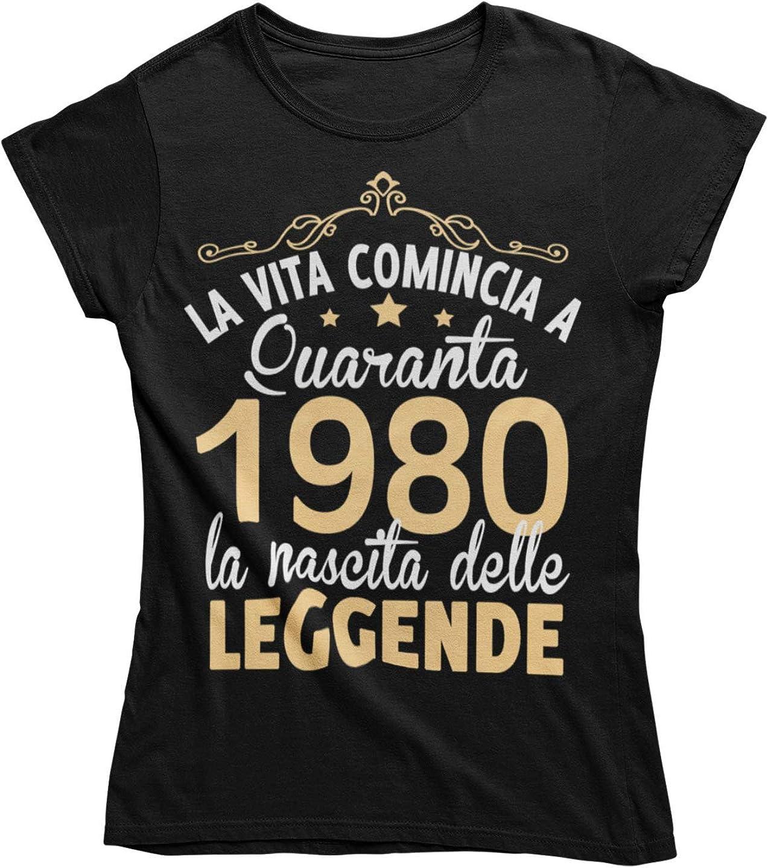 Vulfire Maglietta Donna Idea Regalo per Compleanno La Vita Comincia a Quaranta 1980 Leggende Festa dei 40 Anni