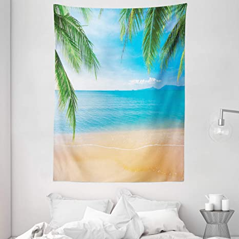 Amazon Com Ambesonne Beach Tapestry Exotic Lagoon Sand Ocean Paradise Picture Thailand Nature Picture Wall Hanging For Bedroom Living Room Dorm Decor 60 X 80 Sand Brown Sky Blue Home Kitchen