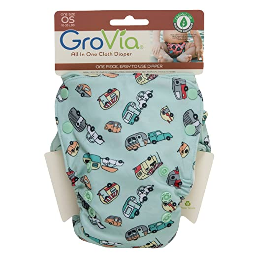 Image: GroVia All in One Cloth Diaper | Super absorbent, organic cotton inner | soft layer of water resistant TPU outer | Stretchy tabs for a perfect fit