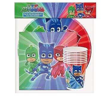 PJ Masks Pack Desechables para decoración de Fiestas (Verbetena 016001332)