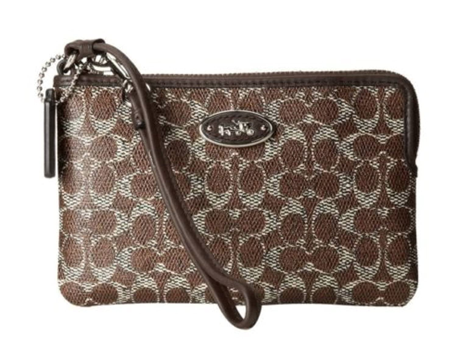 Coach Small L-Zip Wristlet in Signature Coated Canvas 52436