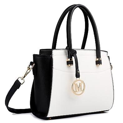 d8e5b2de82 Miss Lulu Women Winged Faux Leather Handbag Small Shoulder Satchel Bag  (1625 Black White