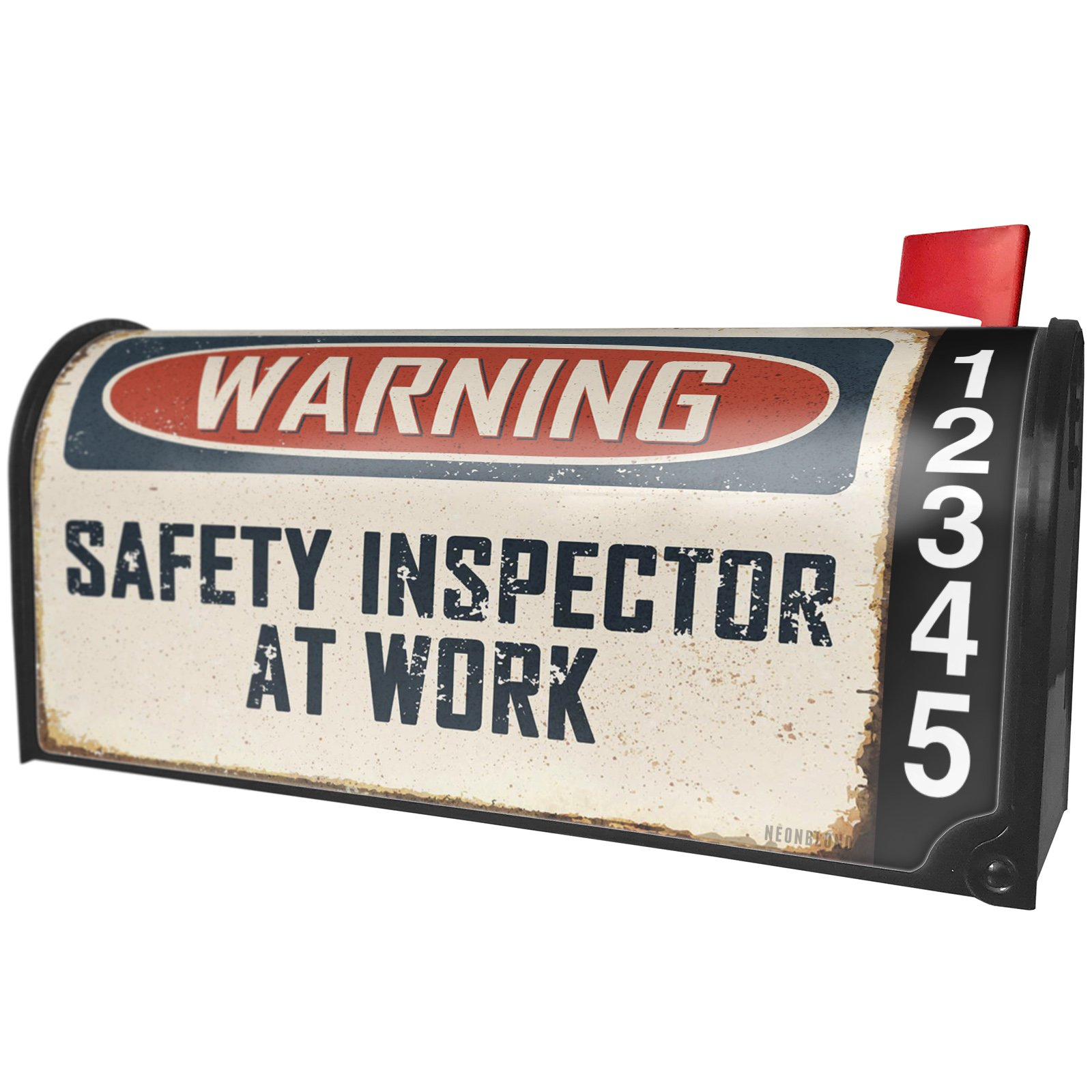 NEONBLOND Warning Safety Inspector at Work Vintage Fun Job Sign Magnetic Mailbox Cover Custom Numbers