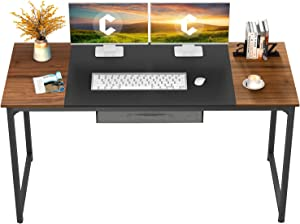 """CubiCubi Computer Desk with Drawer 63"""" Study Writing Table for Home Office, Modern Simple Style PC Desk with Splice Board, Black Metal Frame, Black and Espresso"""
