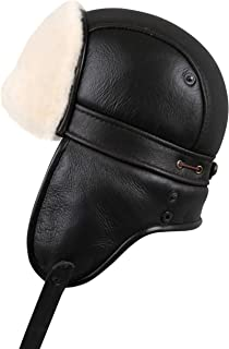 Zavelio Unisex Shearling Sheepskin Aviator Russian Ushanka with Snap Hat 3bb9707a2b32
