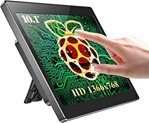 UPERFECT Raspberry Pi Touchscreen Monitor with Case, 10.1'' IPS 1366x768 Ultra Wide Screen, 10-Point Touch, Heat Sink, Dual Speakers and Stand All-in-ONE, Type-C, HD for Raspberry Pi 3/4, Phones, PC