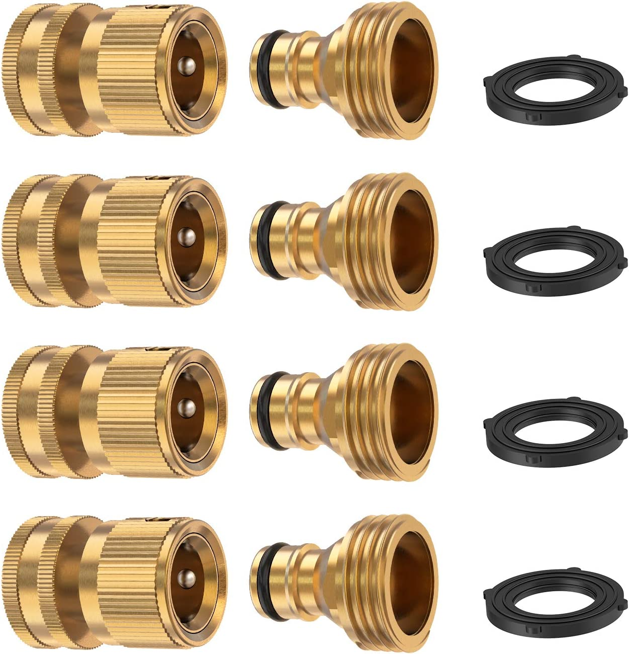 Kupton Garden Hose Quick Connect Fittings, 3/4 Inch GHT Brass Quick Release Water Hose Connector Male and Female Set (4 Sets)