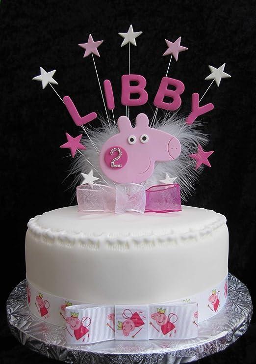 Personalizada Peppa Pig cumpleaños Decoración para tarta ...