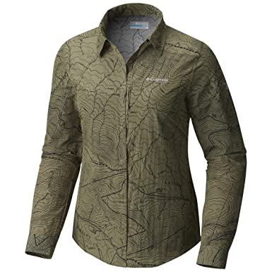 ea7433e14868 Columbia Women s Featherweight Hike Long Sleeve Shirt XSmall Cypress Topo  Print Gravel