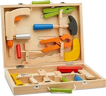 Caja de herramientas Top Race de 10 piezas, caja de herramientas de madera maciza con coloridas herramientas de madera, juego de rol de construcción Toy Set TR-W300: Amazon.es: Juguetes y juegos