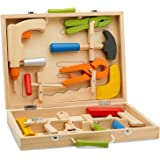 Top Race 12 Piece Tool Box, Solid Wood Tool Box with Colorful Wooden Tools, Construction Toy Role Play Set