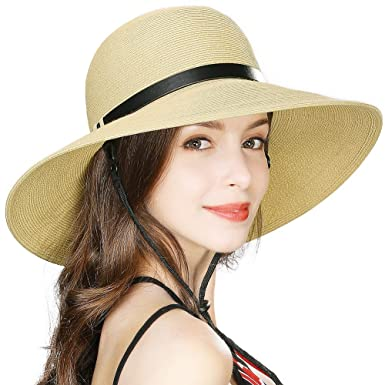 f6f62e1b3 Comhats Wide Brim Straw Sun Hats for Women Packable w/Chin Strap Summer  Safari Sunhat Beach Accessory Adjustable