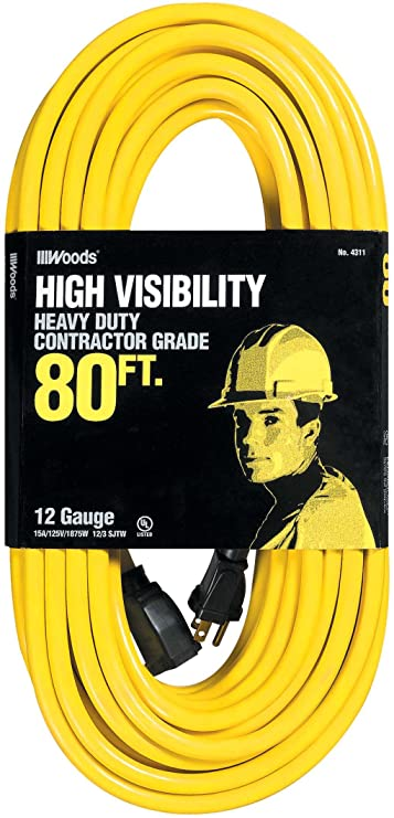 Woods 992553 12/3 SJTW High Visibility Extension Cord with Cord Clip, 25-Foot, Yellow - Electrical Cables - Amazon.com