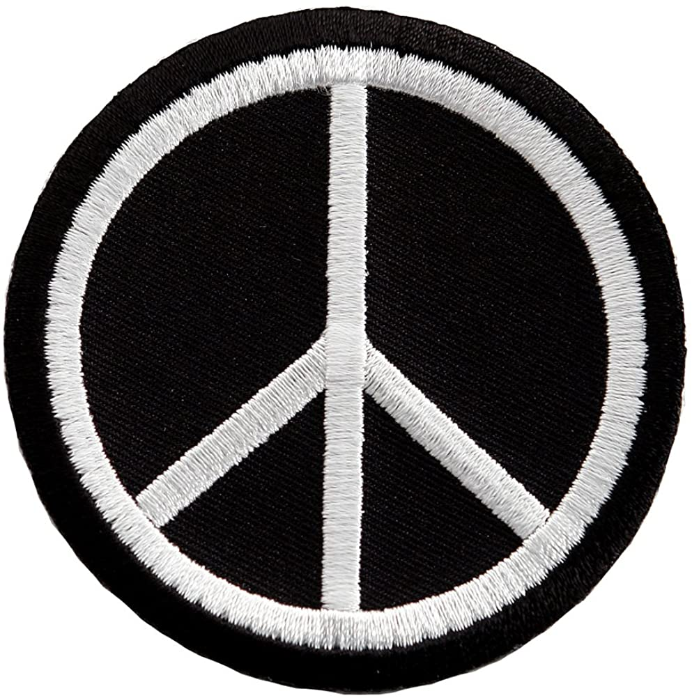 60s , 70s Hippie Clothes for Men Peace Sign Embroidered Patch Anti-War Hippie Iron-On Symbol Black $4.50 AT vintagedancer.com