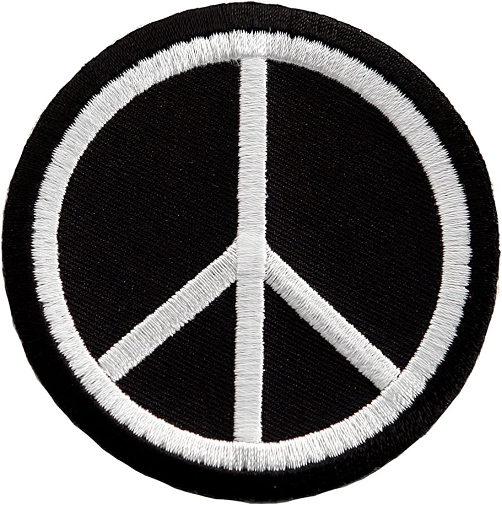 Hippie Dress | Long, Boho, Vintage, 70s Peace Sign Embroidered Patch Anti-War Hippie Iron-On Symbol Black $4.50 AT vintagedancer.com