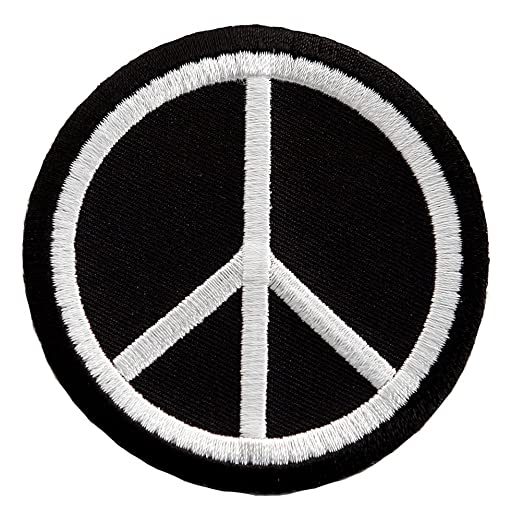 Peace Sign Embroidered Patch Anti War Hippie Iron On Symbol Black