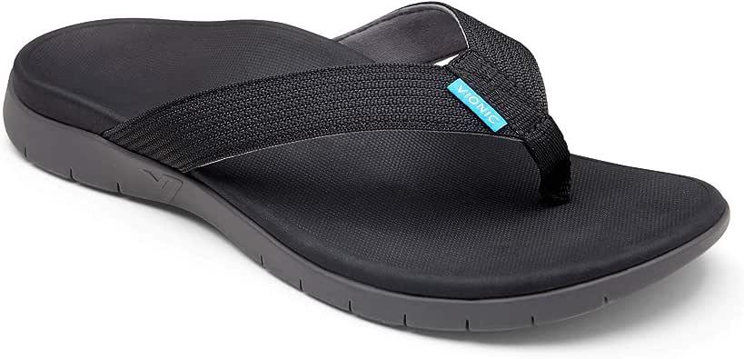 VIONIC Mens Islander Toe Post Sandal (11, Black)