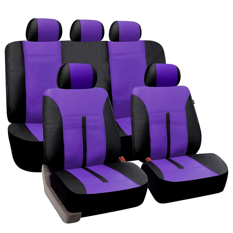 eSituro universal Auto Schonbezug Komplettset Sitzbez/üge f/ür Auto aus Kunstleder schwarz//Bordeaux SCSC0084