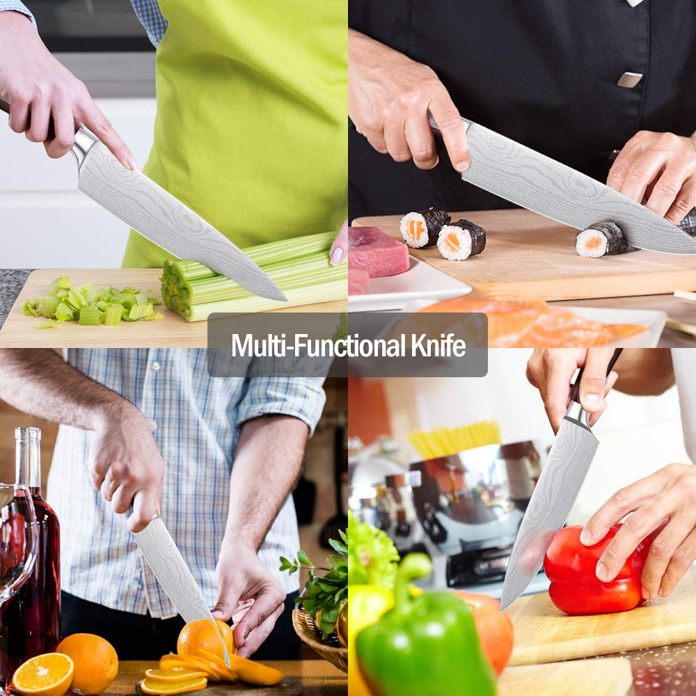 Whew Chef Knife, 8 Inch Japanese High Carbon Stainless Steel Pro Kitchen Knife with Ergonomic Handle, Razor Sharp,Stain and Corrosion Resistant,Best Choice for Home Kitchen and Restaurant by Whew (Image #4)