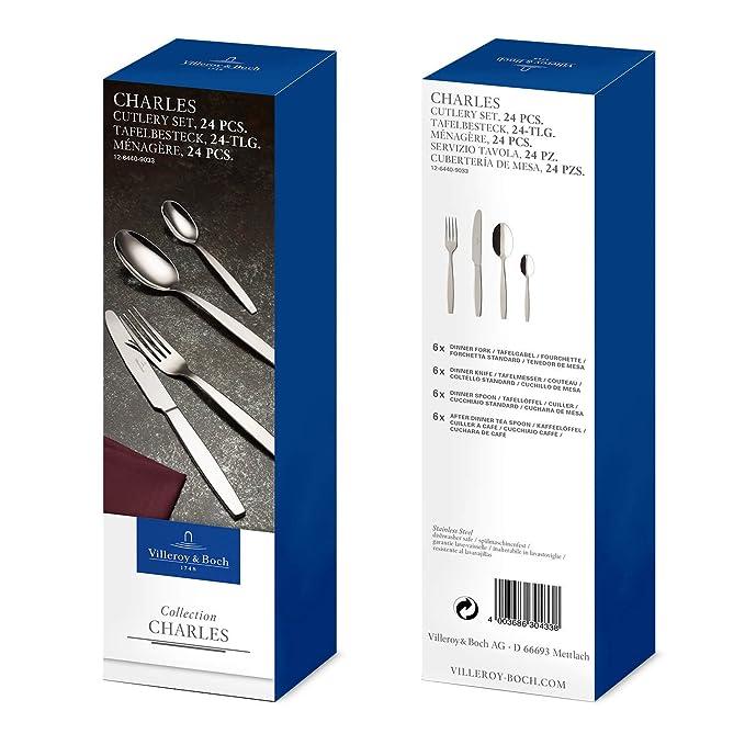 Villeroy & Boch Charles - Cubertería de 24 Piezas, cucharas, Tenedores, Cuchillos, cucharillas de café, Acero Inoxidable, para 6 Personas: Amazon.es: Hogar