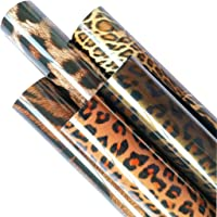 "ZAIONE 5pcs/Set 12"" x 9.8"" Leopard Pattern Iron-on Heat Transfer Vinyl Wild Animal Print HTV Craft Film Garment Clothing…"