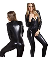 Forever Young Ladies 4 Way Zip Wetlook Sexy Shiny Black Stretch PVC Look Bodysuit Catwoman Costume