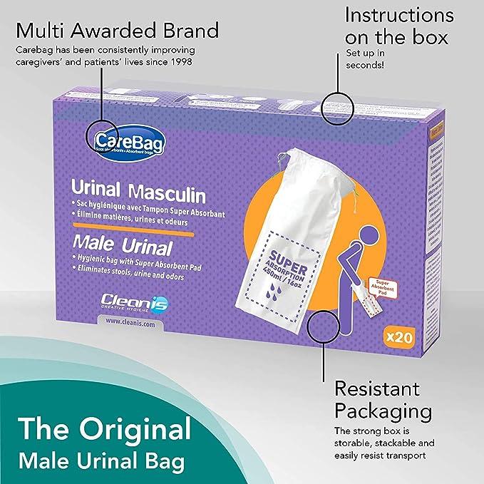Carebag Urinal masculin avec tampon super-absorbant paquet de 20 sacs