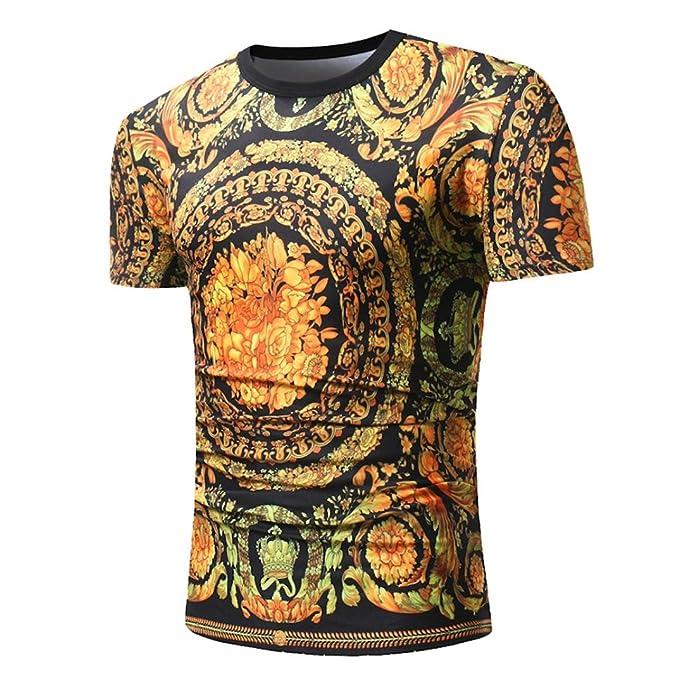 c5807eda1223 Kanpola Shirt Herren Slim Fit T-Shirt 3D Drucken Casual Stylische Männer  Rundhals Oversize Kurzarm