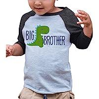 7 ate 9 Apparel Boy's Dinosaur Big Brother Grey Baseball Tee