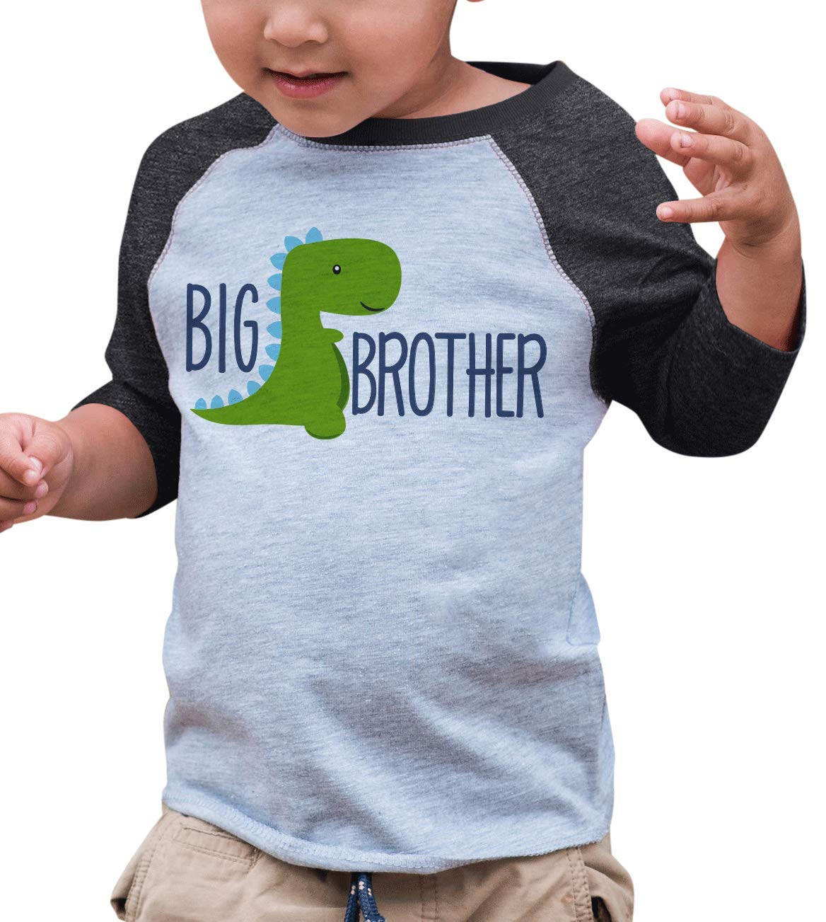7 ate 9 Apparel Boy's Dinosaur Big Brother Grey Baseball Tee 18 Months by 7 ate 9 Apparel