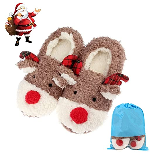 phroboxl slippers for women cute reindeer animal fluffy house winter ladies slippers shoes comfortable
