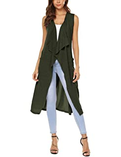 d23aea3efa387 URRU Womens Casual Sleeveless Open Front Cardigan Sweater Vest with Pockets  and Belt S-XXL