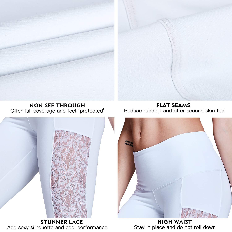 Matymats Women/'s Tummy Control Yoga Capri Pants Workout Running Active Leggings Not See Through Lace Panel Side