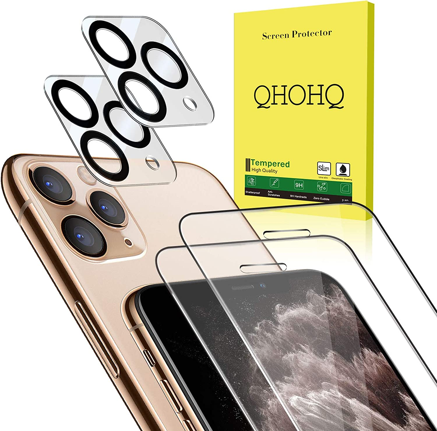 """[4 Pack] QHOHQ 2 Pack Tempered Glass Screen Protector +2 Pack Tempered Glass Camera Lens Protector for Apple iPhone 11 Pro Max(6.5""""),[9H Hardness] HD Transparent Scratch-Resistant [Bubble Free]"""