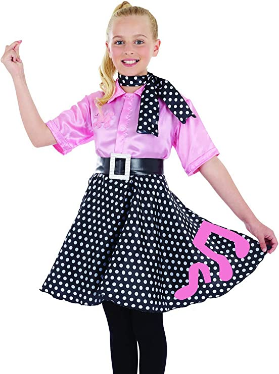 CHILDRENS PINK POLKA DOT ROCK AND ROLL 50s SKIRT /& SCARF FANCY DRESS COSTUME