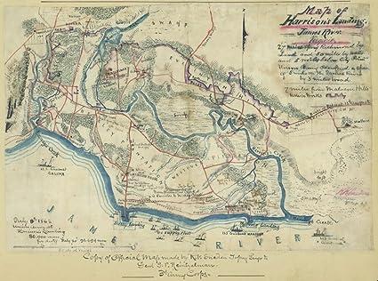 Amazoncom Map 1862 Of Harrisons Landing James River Virginia - James-river-on-us-map
