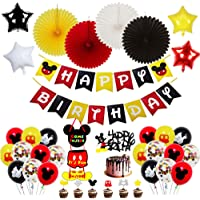 Mickey Mouse Birthday Party Baby Shower Decorations Kit,Mickey Birthday Banner,Mickey Mouse Door Sign,Mickey Mouse Cake Insert for Mickey Mouse Theme Party Supplies