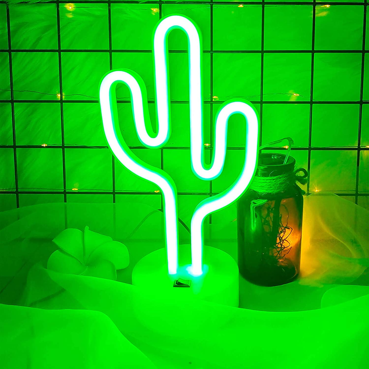 VIFULIN Cactus Neon Signs for Wall Decor LED Lights for Bedroom Decor for Teen Girls Gifts for Teenage Boys Aesthetic Room Decor for Teen Girls USB/Battery LED Night Light with Holder Cool Gadgets