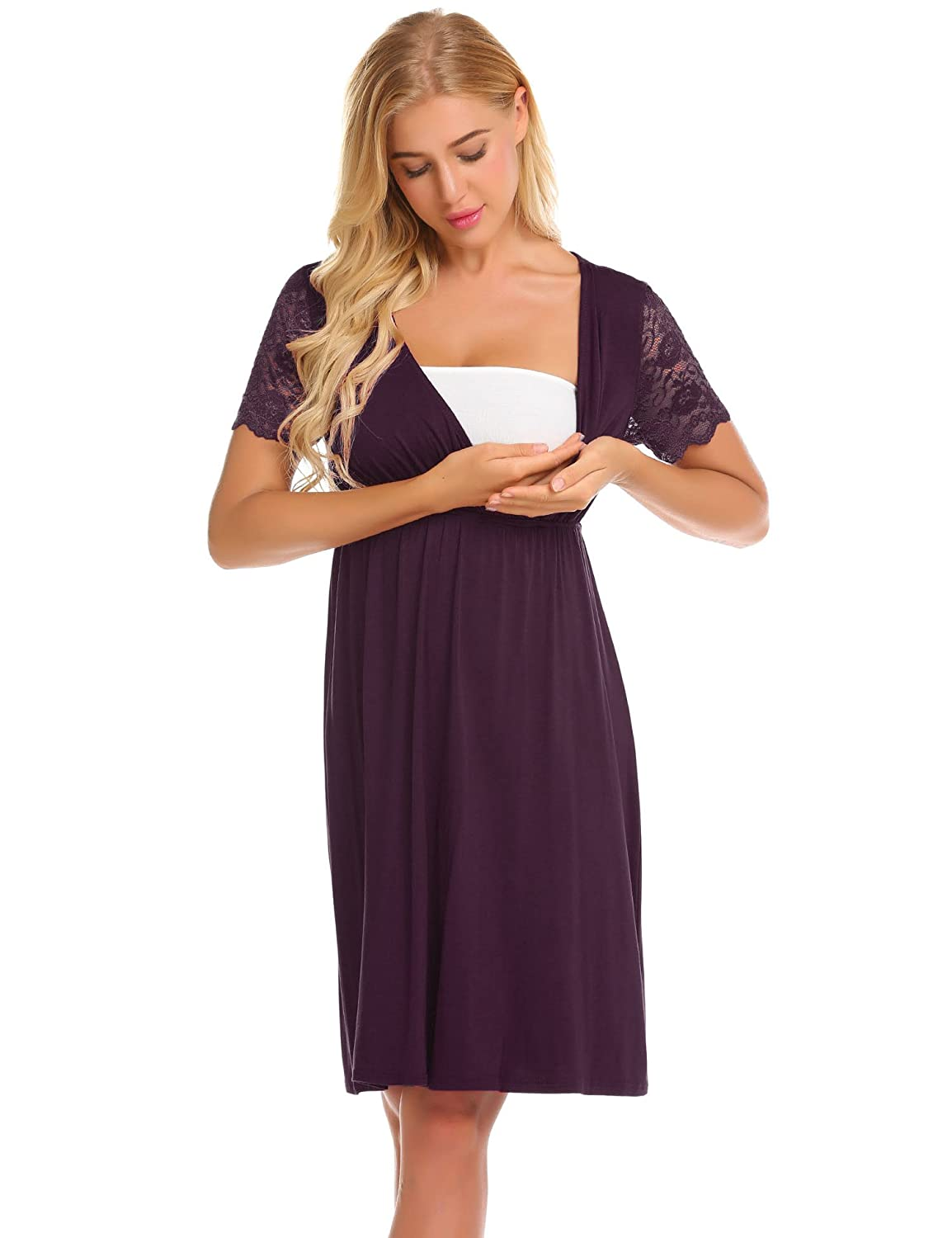 MAXMODA Womens Delivery/Labor/Maternity/Nursing Nightgown Pregnancy ...