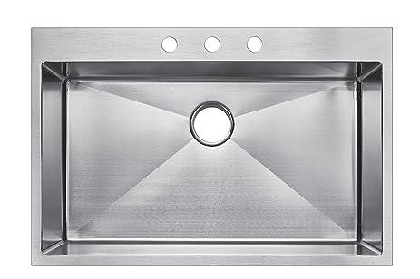 starstar 33 x 22 top mount single bowl kitchen sink drop in 304 stainless starstar 33 x 22 top mount single bowl kitchen sink drop in 304      rh   amazon com