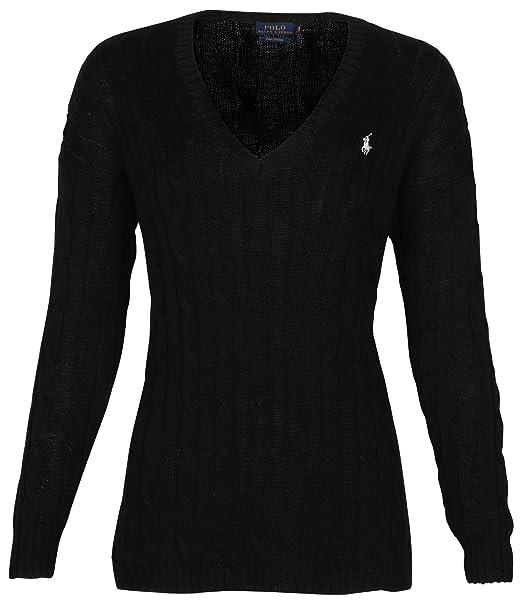 cd45df96115e8b Polo Ralph Lauren Womens Pima Cotton Cable Knit V-Neck Sweater: Amazon.ca:  Clothing & Accessories
